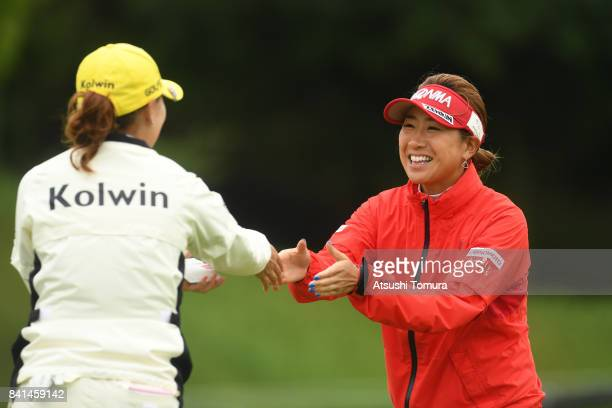 Megumi Kido of Japan smiles during the first round of the Golf 5 Ladies Tournament 2017 at the Golf 5 Country Oak Village on September 1 2017 in...