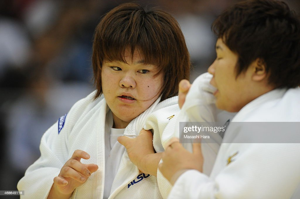 <a gi-track='captionPersonalityLinkClicked' href=/galleries/search?phrase=Megumi+Tachimoto&family=editorial&specificpeople=5645971 ng-click='$event.stopPropagation()'>Megumi Tachimoto</a> in action during the day two of the All Japan Judo Championships by Weight Category 2015 at Fukuoka Kokusai Center on April 5, 2015 in Fukuoka, Japan.