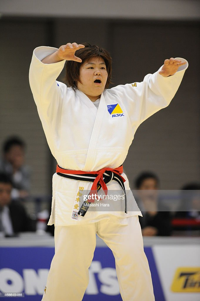<a gi-track='captionPersonalityLinkClicked' href=/galleries/search?phrase=Megumi+Tachimoto&family=editorial&specificpeople=5645971 ng-click='$event.stopPropagation()'>Megumi Tachimoto</a> looks on during the day two of the All Japan Judo Championships by Weight Category 2015 at Fukuoka Kokusai Center on April 5, 2015 in Fukuoka, Japan.
