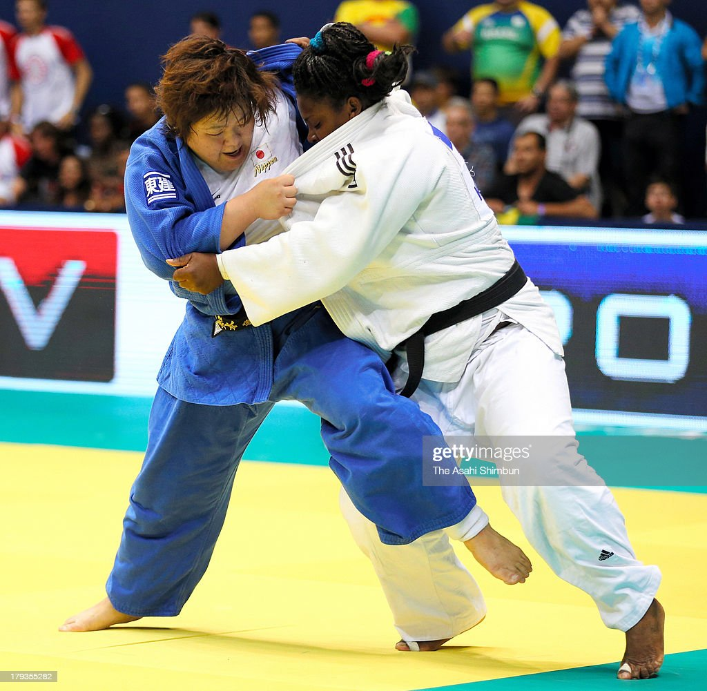 Megumi Tachimoto (L) of Japan and <a gi-track='captionPersonalityLinkClicked' href=/galleries/search?phrase=Idalys+Ortiz&family=editorial&specificpeople=5492242 ng-click='$event.stopPropagation()'>Idalys Ortiz</a> of Cuba compete in the Women's +78kg semi final during day six of the IJF World Judo Championship at the Maracanazinho gymnasium on August 31, 2013 in Rio de Janeiro, Brazil.