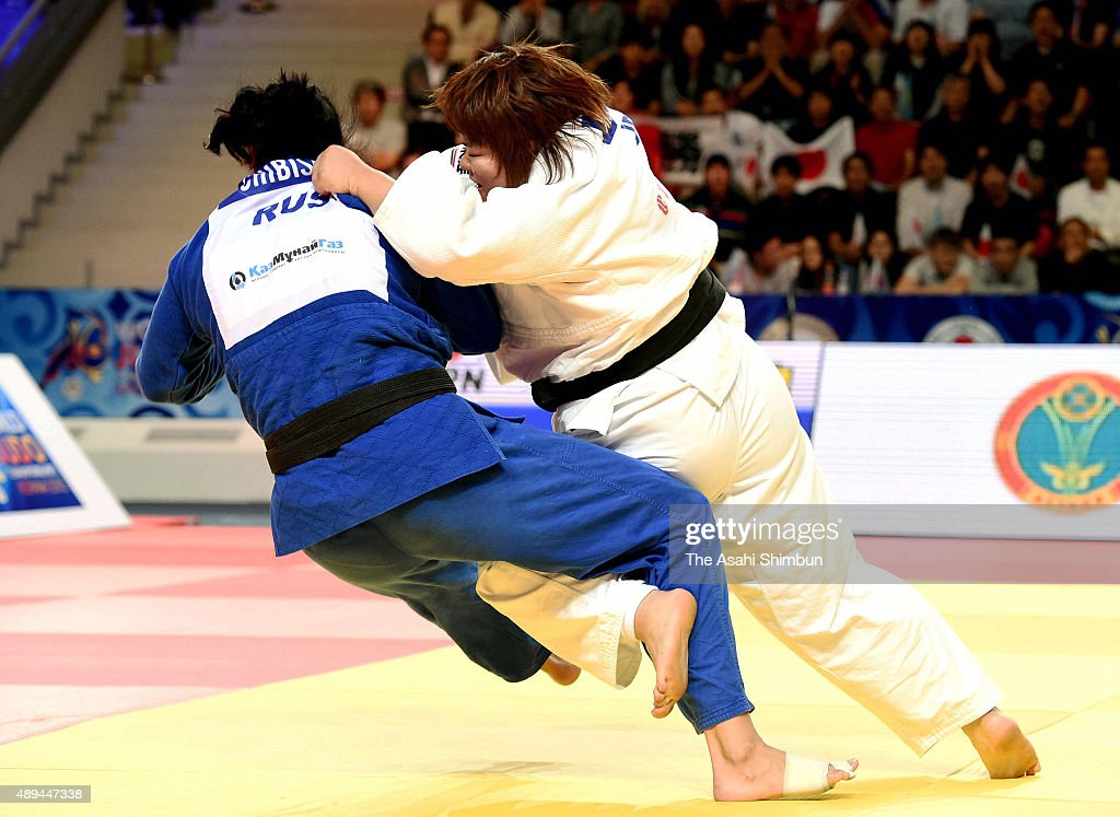 <a gi-track='captionPersonalityLinkClicked' href=/galleries/search?phrase=Megumi+Tachimoto&family=editorial&specificpeople=5645971 ng-click='$event.stopPropagation()'>Megumi Tachimoto</a> (white) of Japan and Ksenia Chibisova (blue) of Russia compete in the Women's +78kg semifinal match during the 2015 Astana World Judo Championships at the Alau Ice Palace on August 29, 2015 in Astana, Kazakhstan.
