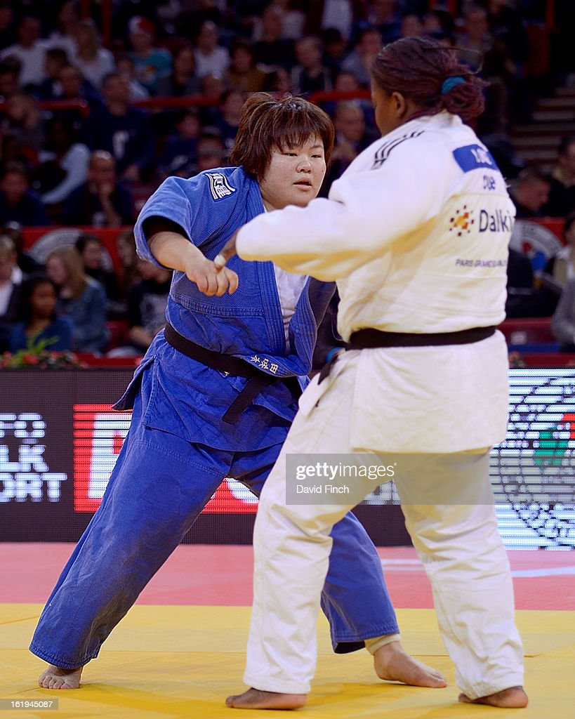 Megumi Tachimoto of Japan (blue) defeated the London Olympic champion, <a gi-track='captionPersonalityLinkClicked' href=/galleries/search?phrase=Idalys+Ortiz&family=editorial&specificpeople=5492242 ng-click='$event.stopPropagation()'>Idalys Ortiz</a> of Cuba, to win her third consecutive Paris heavyweight gold medal during the Paris Grand Slam on day 2, Sunday, February 10, 2013 at the Palais Omnisports de Paris, Bercy, Paris, France.