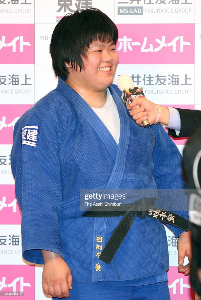 <a gi-track='captionPersonalityLinkClicked' href=/galleries/search?phrase=Megumi+Tachimoto&family=editorial&specificpeople=5645971 ng-click='$event.stopPropagation()'>Megumi Tachimoto</a> of Japan is interviewed after winning the gold medal in the Women's +78kg during day three of the Judo Grand Slam at Tokyo Metropolitan Gymnasium on December 13, 2010 in Tokyo, Japan.