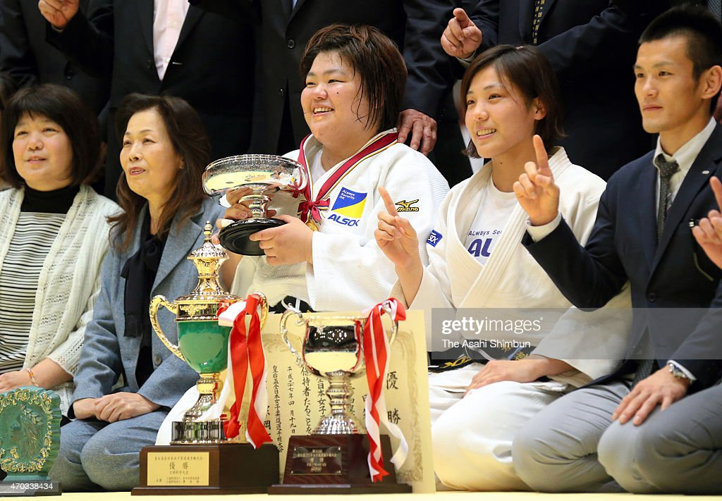 <a gi-track='captionPersonalityLinkClicked' href=/galleries/search?phrase=Megumi+Tachimoto&family=editorial&specificpeople=5645971 ng-click='$event.stopPropagation()'>Megumi Tachimoto</a> (C) poses for photographs after winning the 30th All Japan Women Judo Championship at Yokohama Cultural Gymnasium on April 19, 2015 in Yokohama, Kanagawa, Japan.