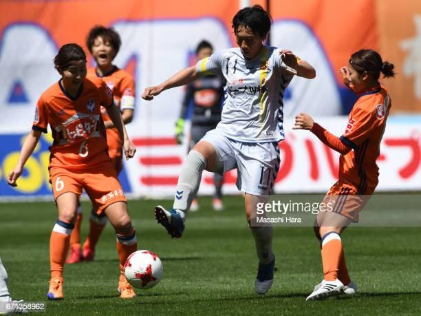 Megumi Takase of INAC Kobe Leonessa in action during the Nadeshiko League match between Albirex Niigata Ladies and INAC Kobe Leonessa at Denka Big...
