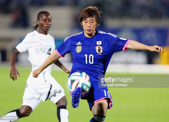 Megumi Takase of Japan scores her team's first goal during the women's international friendly match between Japan and Ghana at ND Soft Stadium on...