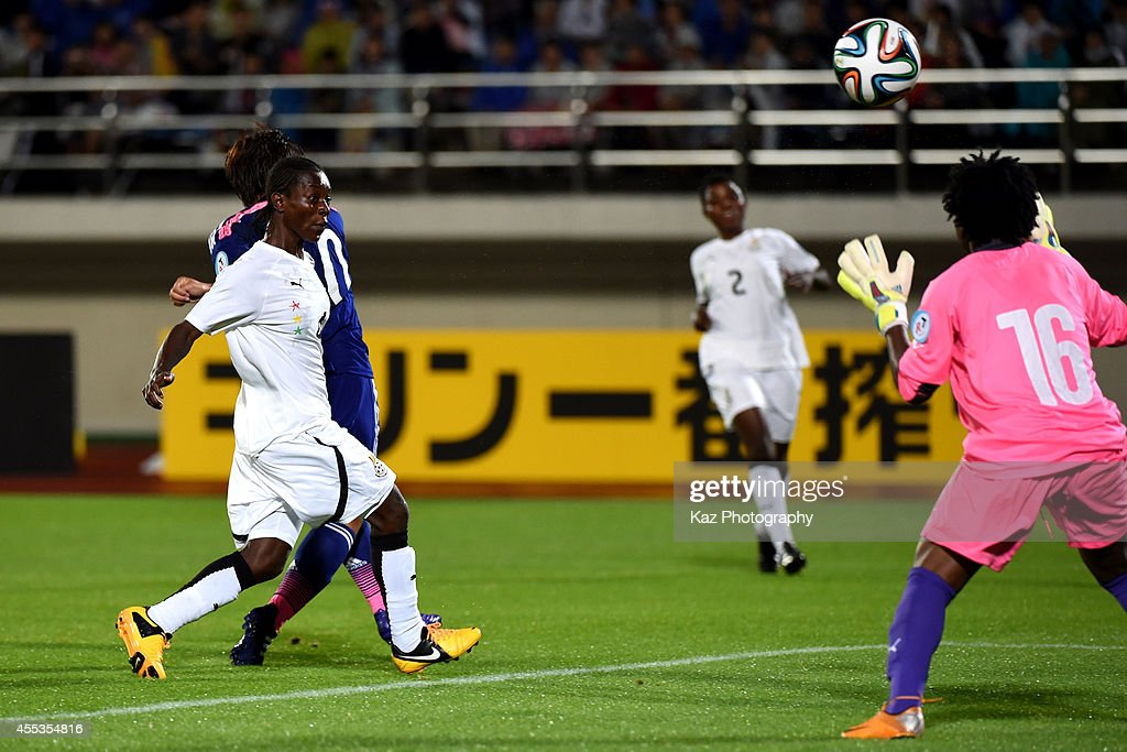 Megumi Takase of Japan scores Japan's 3rd goal during the women's international friendly match between Japan and Ghana at ND Soft Stadium on...