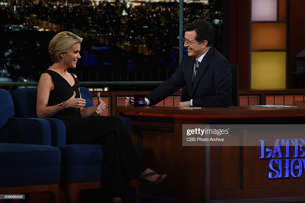 <a gi-track='captionPersonalityLinkClicked' href=/galleries/search?phrase=Megyn+Kelly&family=editorial&specificpeople=5417318 ng-click='$event.stopPropagation()'>Megyn Kelly</a> on The Late Show with <a gi-track='captionPersonalityLinkClicked' href=/galleries/search?phrase=Stephen+Colbert&family=editorial&specificpeople=215133 ng-click='$event.stopPropagation()'>Stephen Colbert</a>, Sunday, Feb. 7, 2016 on the CBS Television Network.