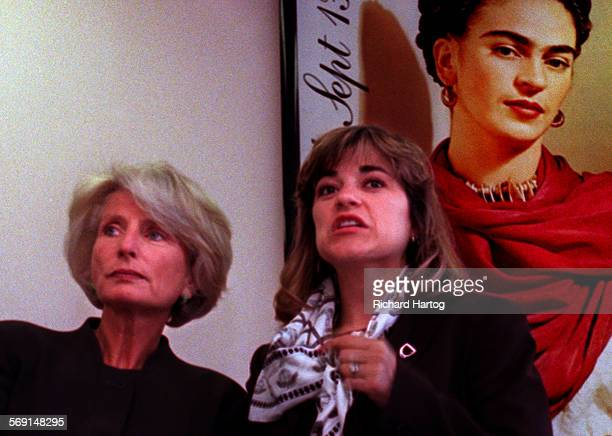 MEHarmanRH––052698––Under the watchful eye of mexican painter Frida Kahlo congresswoman and gubernatorial candidate Jane Harmen left is joined by...