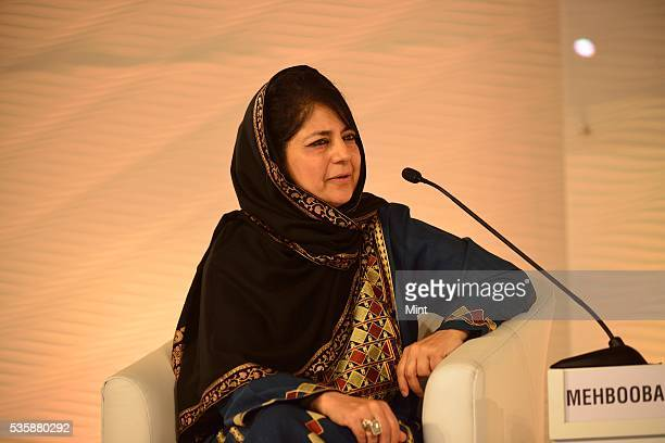 Mehbooba Mufti Sayeed President of the Jammu Kashmir Peoples Democratic Party speaking at Hindustan Times Leadership Summit 2015 on December 5 2015...