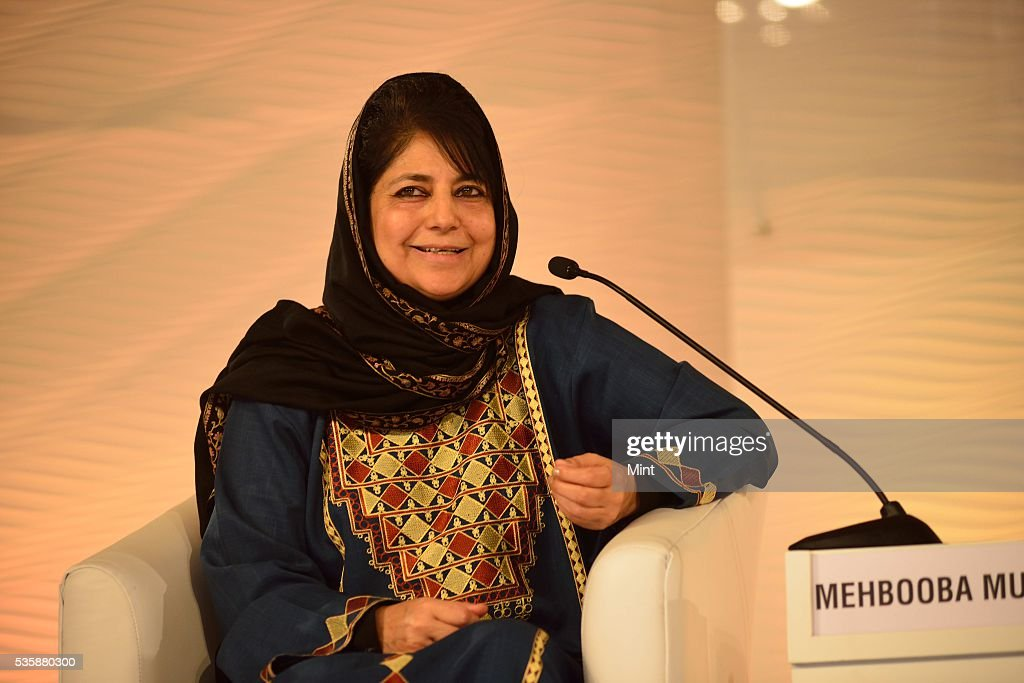 Mehbooba Mufti Sayeed, president of the Jammu & Kashmir Peoples Democratic Party speaking at Hindustan Times Leadership Summit 2015 on December 5, 2015 in New Delhi, India.