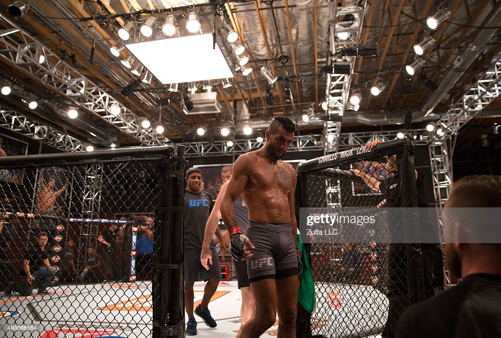 Mehdi Baghdad exits the cage after his loss to Julian Erosa during the filming of The Ultimate Fighter Team McGregor vs Team Faber at the UFC TUF Gym...