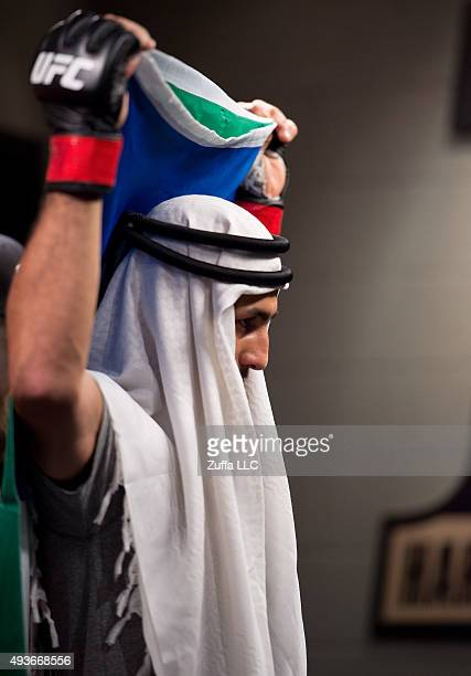 Mehdi Baghdad prepares to head to the Octagon before facing Julian Erosa during the filming of The Ultimate Fighter Team McGregor vs Team Faber at...
