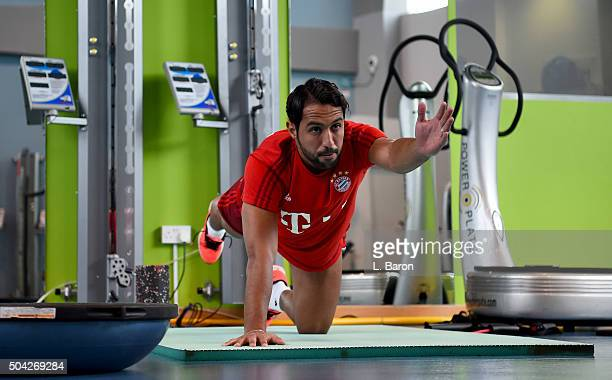 Mehdi Benatia is seen in the gym at day five of the Bayern Muenchen training camp at Aspire Academy on January 10 2016 in Doha Qatar