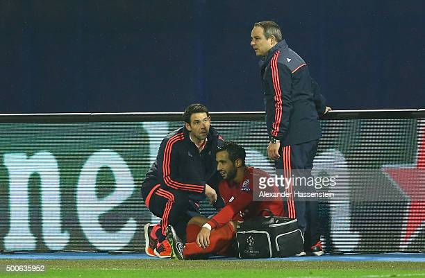Mehdi Benatia of Bayern Munich leaves the pitch injured during the UEFA Champions League Group F match between GNK Dinamo Zagreb and FC Bayern...