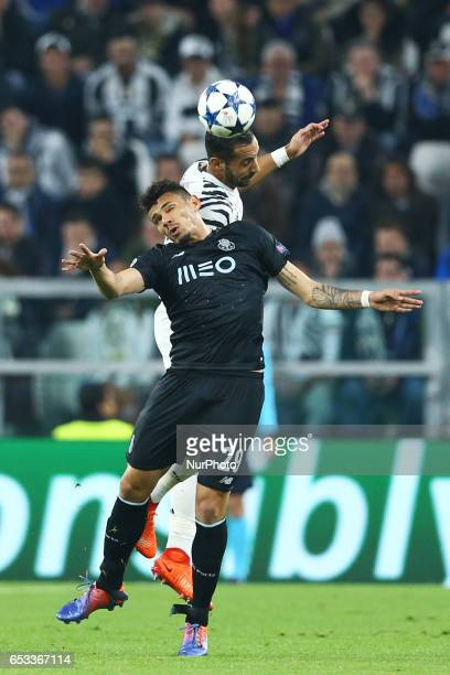 Mehdi Benatia of Juventus and Francisco Soares of Porto during the UEFA Champions League Round of 16 second leg match between Juventus and FC Porto...