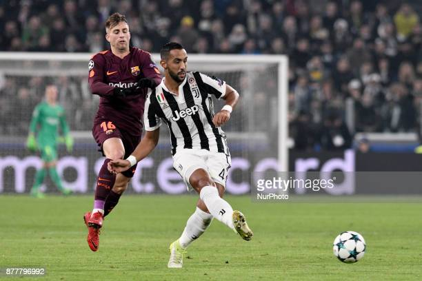 Mehdi Benatia of Juventus is challenged by Gerard Deulofeu of Barcelona during the UEFA Champions League match between Juventus and Barcelona at the...
