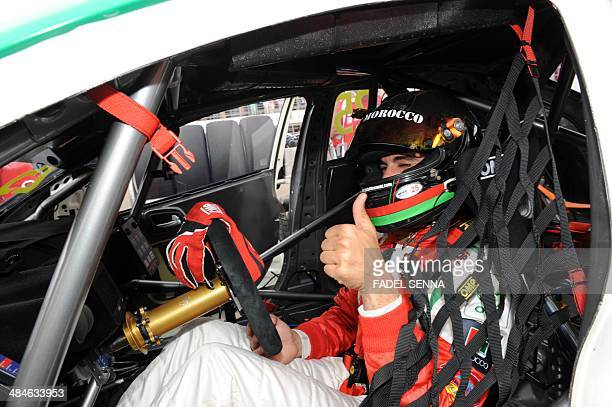 Mehdi Bennani in his Honda Civic prepares to compete in the Marrakech WTCC Fia World Touring Car championship race on April 13 in Marrakesh AFP PHOTO...