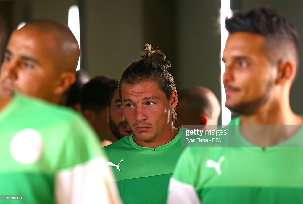 <a gi-track='captionPersonalityLinkClicked' href=/galleries/search?phrase=Mehdi+Mostefa&family=editorial&specificpeople=6328029 ng-click='$event.stopPropagation()'>Mehdi Mostefa</a> of Algeria looks on prior to the 2014 FIFA World Cup Brazil Group H match between Belgium and Algeria at Estadio Mineirao on June 17, 2014 in Belo Horizonte, Brazil.