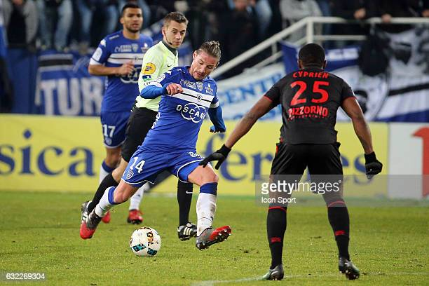 Mehdi Mostefa of bastia during the French Ligue 1 match between Bastia and Nice at Stade Armand Cesari on January 21 2017 in Bastia France