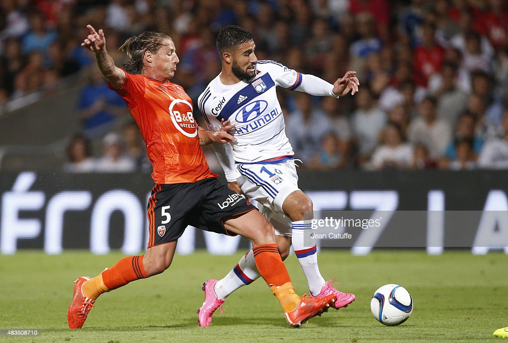 <a gi-track='captionPersonalityLinkClicked' href=/galleries/search?phrase=Mehdi+Mostefa&family=editorial&specificpeople=6328029 ng-click='$event.stopPropagation()'>Mehdi Mostefa</a> of FC Lorient and <a gi-track='captionPersonalityLinkClicked' href=/galleries/search?phrase=Nabil+Fekir&family=editorial&specificpeople=11185925 ng-click='$event.stopPropagation()'>Nabil Fekir</a> of Lyon in action during the French Ligue 1 match between Olympique Lyonnais (OL) and FC Lorient at Stade de Gerland on August 9, 2015 in Lyon, France.