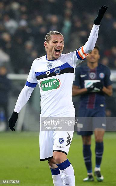 Mehdi Mostefa Sbaa of Bastia reacts during the French Cup match between Paris SaintGermain and SC Bastia at Parc des Princes on January 7 2017 in...