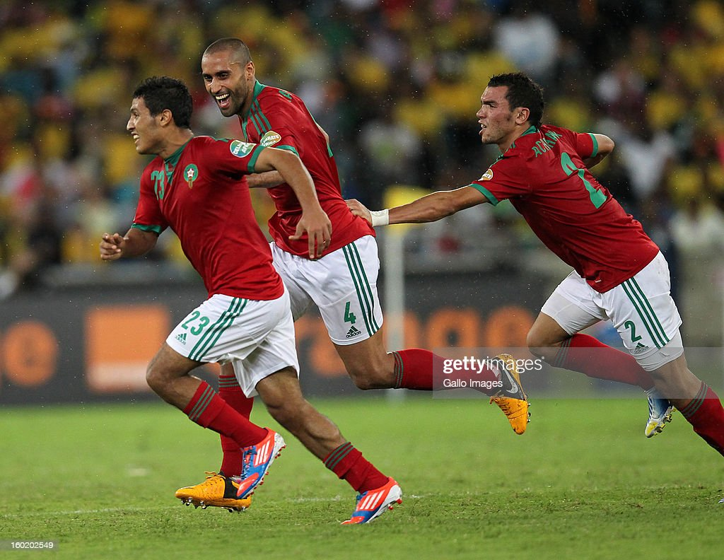 AFRICA - JANUARY 27, Mehdi Namli of Morocco celebrates their second goal during the 2013 Orange African Cup of Nations match between South Africa and Morocco from Moses Mabhida Stadium on January 27, 2013 in Durban, South Africa.
