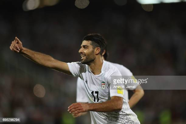 Mehdi Taremi celebrates after secend Goal during FIFA 2018 World Cup Qualifier match between Iran and Uzbekistan at Azadi Stadium on June 12 2017 in...
