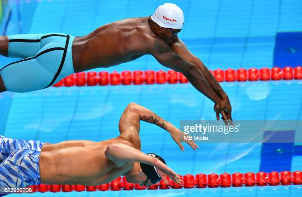Mehdy Metella Caeleb Remel Dressel during the Budapest 2017 FINA World Championships on July 27 2017 in Budapest Hungary