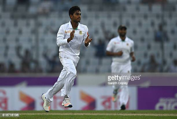 Mehedi Hasan Miraz of Bangladesh celebrates dismissing Gary Ballance of England during the first day of the 2nd Test match between Bangladesh and...