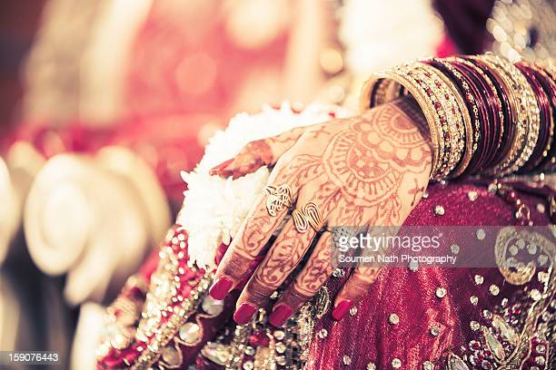 Mehendi on the Hands of an Indian Bride