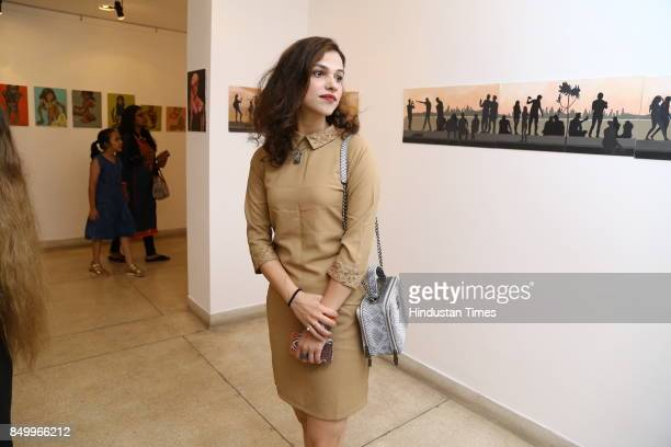 Meher Juneja during an exhibition to celebrate the legacy of iconic artist Amrita SherGil and works by Hungarian artist Ildiko MorovszkiHalasz put on...