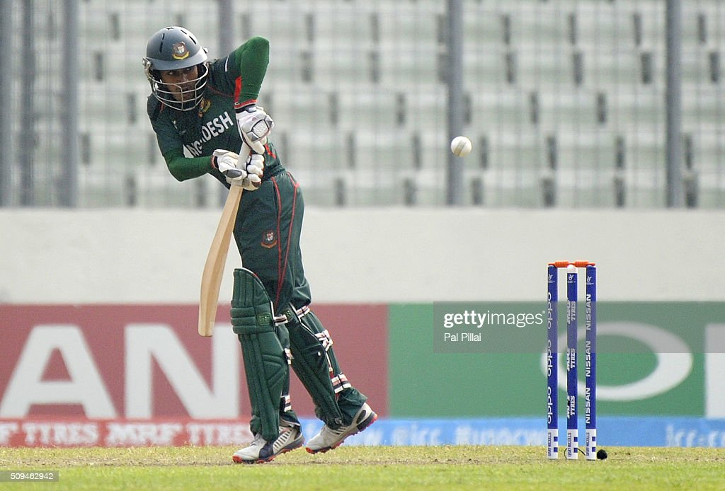 MD Mehidy Hassan Miraz of Bangladesh U19 bats during the ICC U 19 World Cup Semi-Final match between Bangladesh and West Indies on February 11, 2016 in Dhaka, Bangladesh.