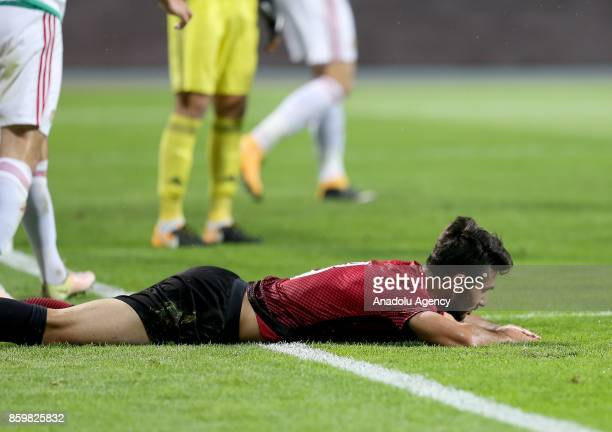 Mehmet Celik of Turkey lays on the ground during the 2017 UEFA European Under21 Championship qualification Group 6 football match Turkey and Hungary...
