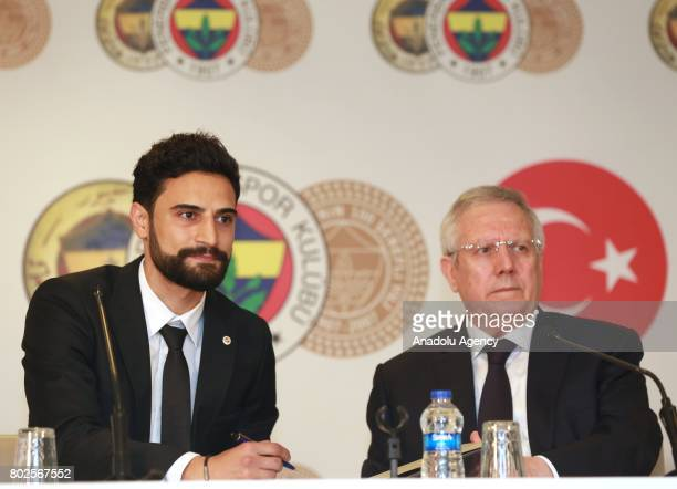 Mehmet Ekici attends a signing ceremony with Chairman of Fenerbahce Aziz Yildirim at Ulker Stadium in Istanbul Turkey on June 28 2017 Mehmet Ekici...