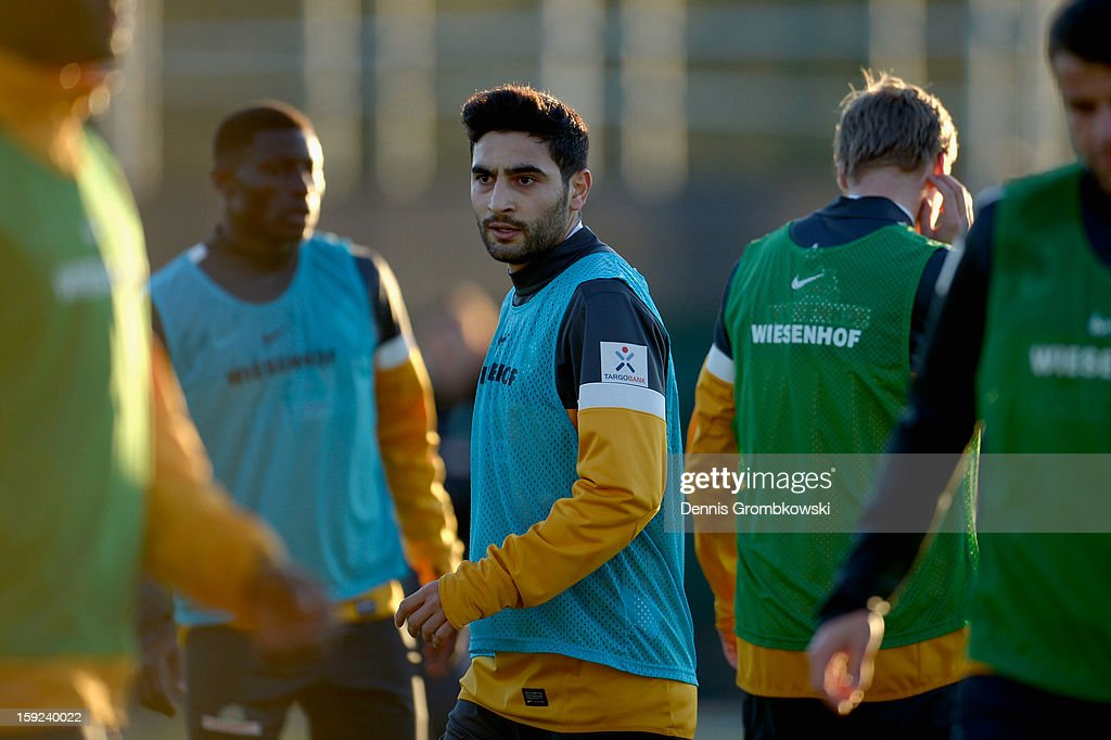 <a gi-track='captionPersonalityLinkClicked' href=/galleries/search?phrase=Mehmet+Ekici&family=editorial&specificpeople=4379088 ng-click='$event.stopPropagation()'>Mehmet Ekici</a> of Bremen looks on during a training session at day six of the Werder Bremen Training Camp on January 10, 2013 in Belek, Turkey.