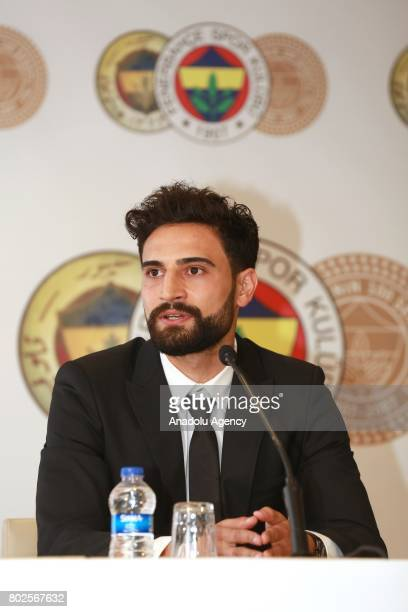 Mehmet Ekici speaks during a signing ceremony at Ulker Stadium in Istanbul Turkey on June 28 2017 Mehmet Ekici signed a 3year contract with Fenerbahce