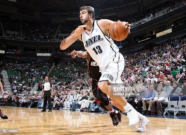Mehmet Okur of the Utah Jazz drives to the basket during the game against the Miami Heat at the EnergySolutions Arena on January 11 2010 in Salt Lake...