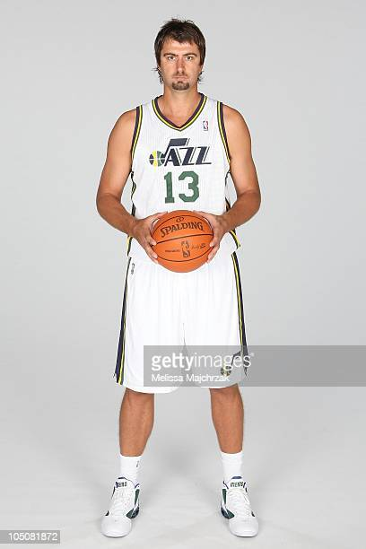 Mehmet Okur of the Utah Jazz poses for a portrait during NBA Media Day at the Zions Basketball Center on September 27 2010 in Salt Lake City Utah...