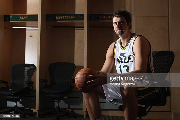 Mehmet Okur of the Utah Jazz poses for a portrait during the 2011 NBA Media Day at Energy Solutions Arena on December 14 2011 in Salt Lake City Utah...