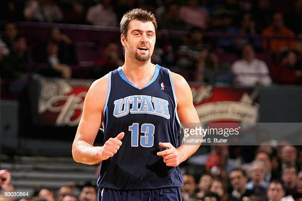 Mehmet Okur of the Utah Jazz smiles during the game against the New York Knicks on November 9 2009 at Madison Square Garden in New York City The Jazz...