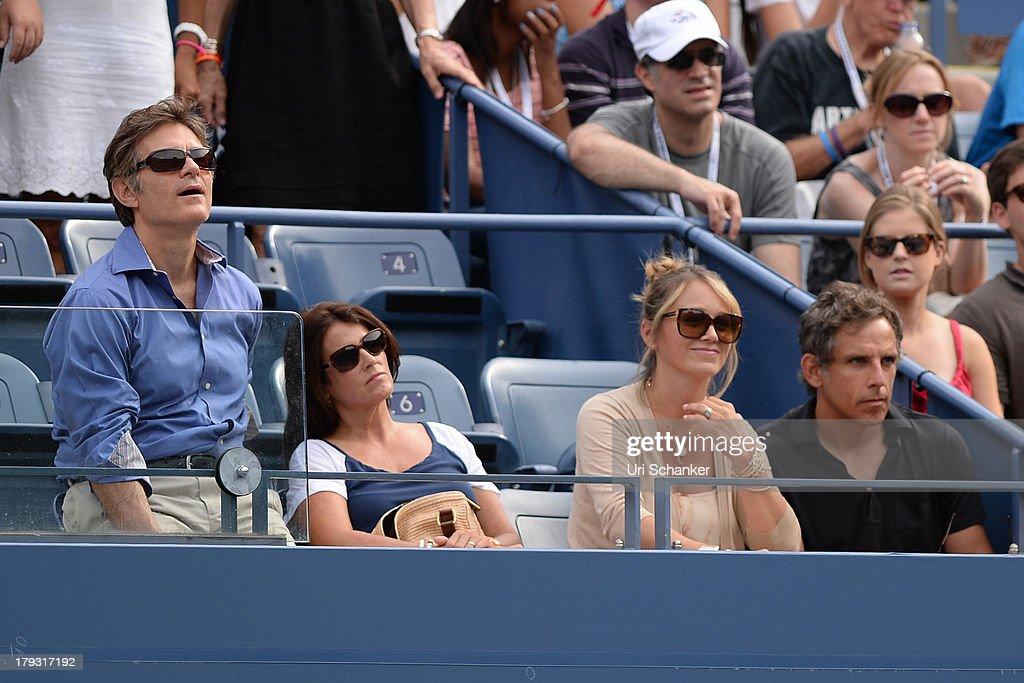 Mehmet Oz, Christine Taylor and Ben Stiller attend the 2013 US Open at USTA Billie Jean King National Tennis Center on September 1, 2013 in New York City.
