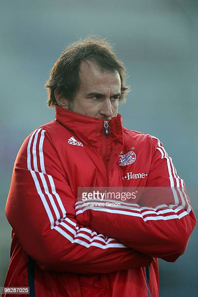 Mehmet Scholl head coach of Bayern looks on during the 3rd League match FC Bayern Muenchen II vs FC Ingolstadt at Gruenwalder Stadion on April 6 2010...