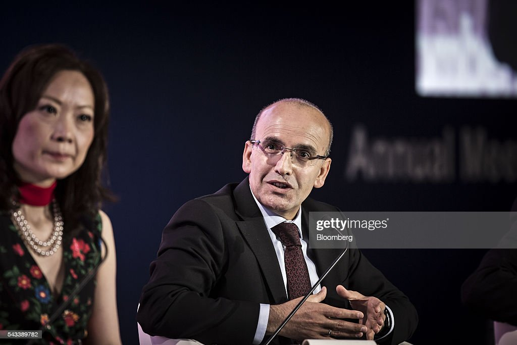 Mehmet Simsek, Turkey's deputy prime minister, speaks during a Bloomberg TV debate at the World Economic Forum (WEF) Annual Meeting of the New Champions in Tianjin, China, on Tuesday, June 28, 2016. The meeting runs through June 28. Photographer: Qilai Shen/Bloomberg via Getty Images