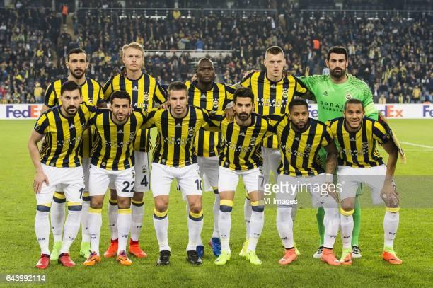 Mehmet Topal of Fenerbahce SK Simon Kjaer of Fenerbahce SK Moussa Sow of Fenerbahce SK Martin Skrtel of Fenerbahce SK goalkeeper Volkan Demirel of...