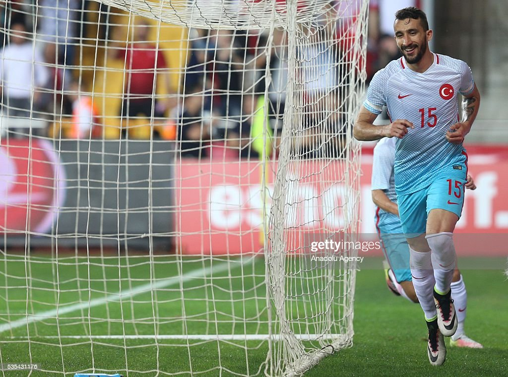 Mehmet Topal (R) of Turkey celebrates a goal during the friendly football match between Turkey and Montenegro at Antalya Ataturk Stadium in Antalya, Turkey on May 29, 2016.