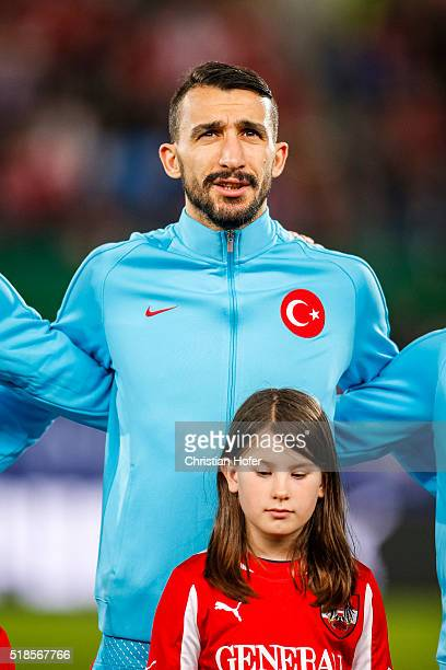 Mehmet Topal of Turkey lines up during the national anthem prior to the international friendly match between Austria and Turkey at ErnstHappelStadium...