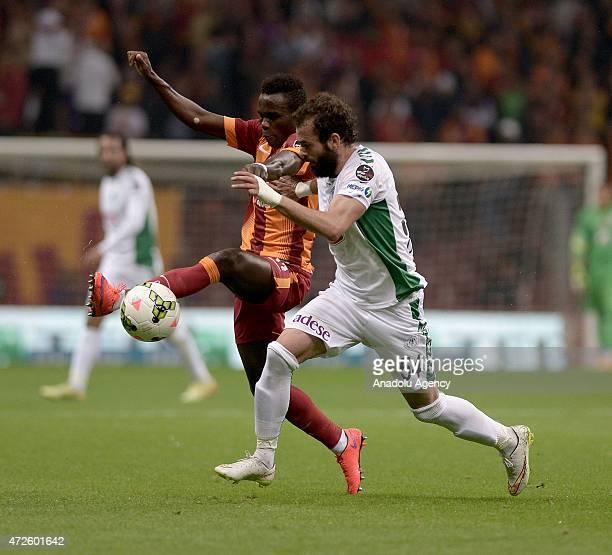 Mehmet Uslu of Torku Konyaspor in action against Bruma of Galatasaray during Turkish Spor Toto Super League football match between Galatasaray and...