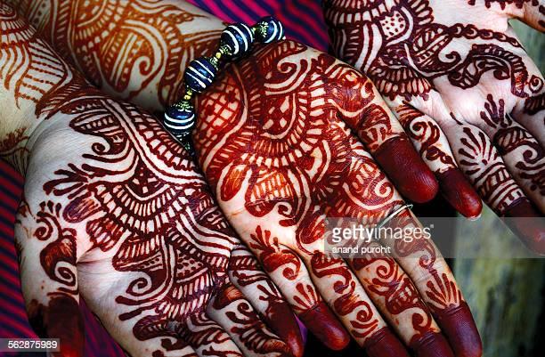 Mehndi art on hands, Gujarat, India