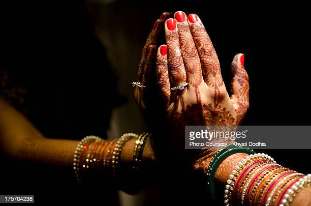 Mehndi Hands With Rings : Indian engagement ring stock photos and pictures getty